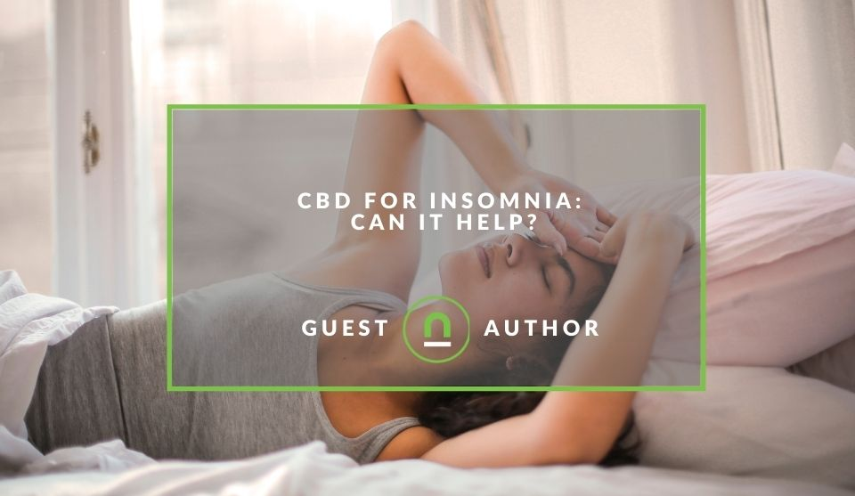 Woman struggling with insomnia and needing CBD