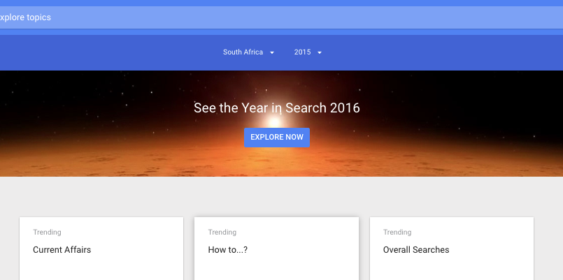 Google South Africa search trends 2016