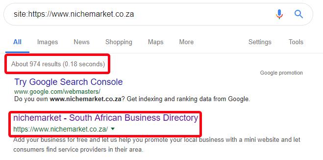 Google site search for nichemarket
