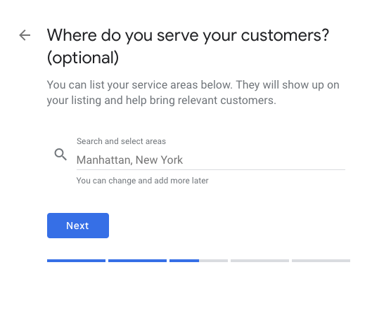 Google My Business set service areas
