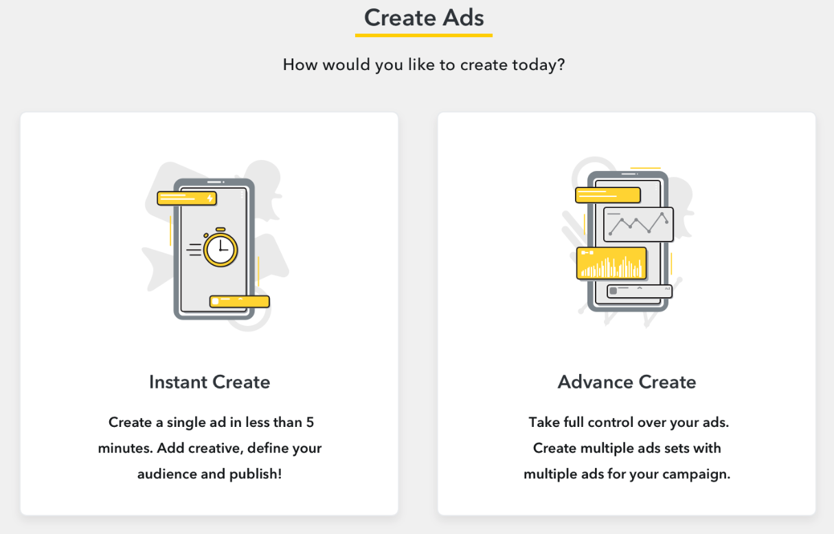 Creating a snapchat instant ad