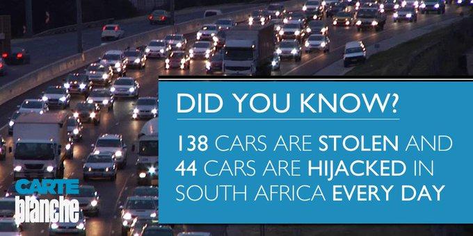 Cars stolen in SA
