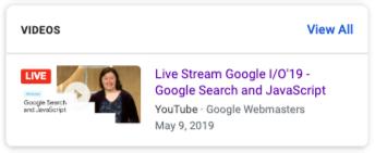 Video live stream badge in google
