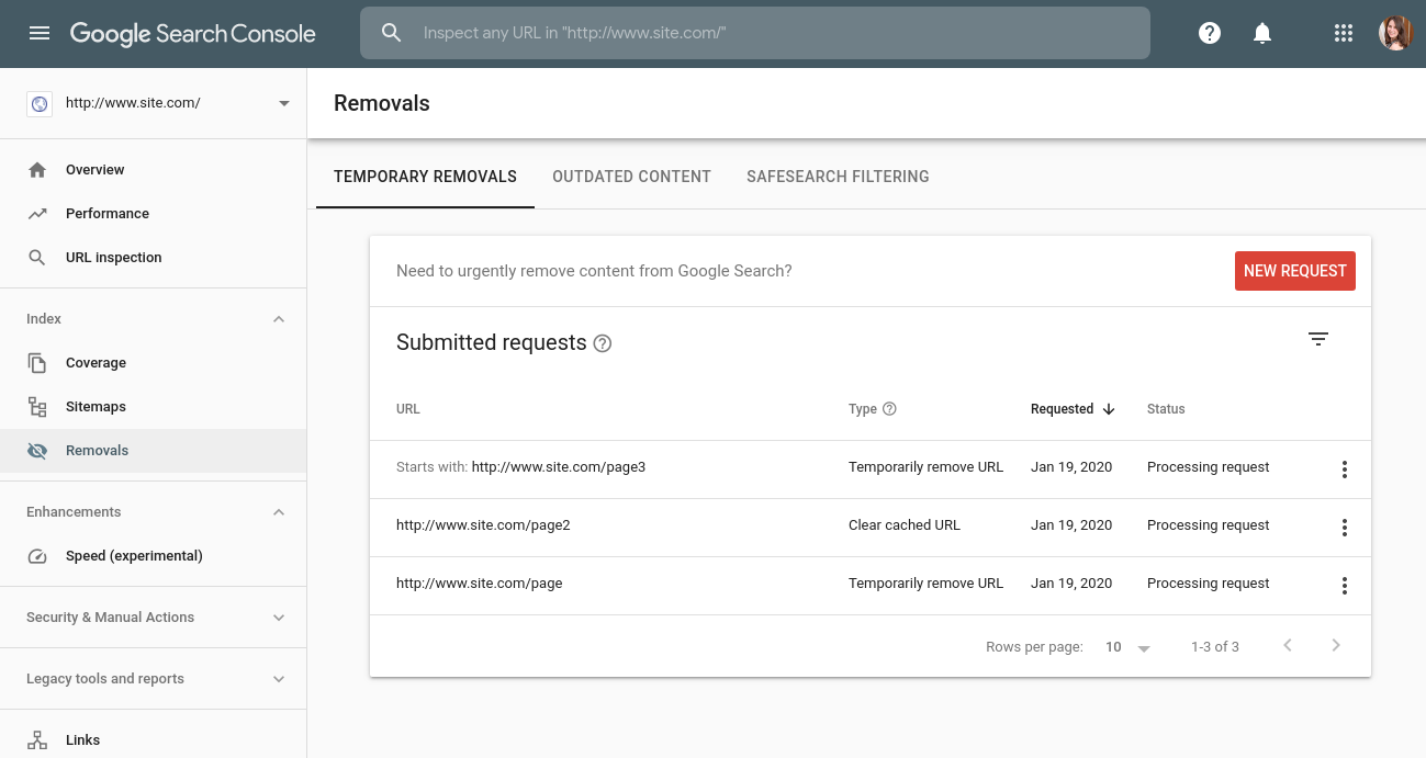 Google Removal Report In Search Console