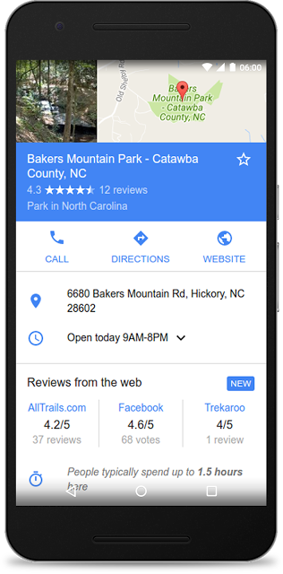Third party reviews in Google search