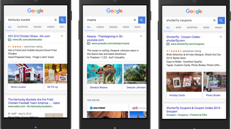 AdWords now ads visual sitelinks