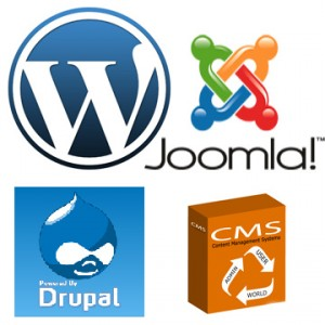 worpdress, joomla and Drupal logos