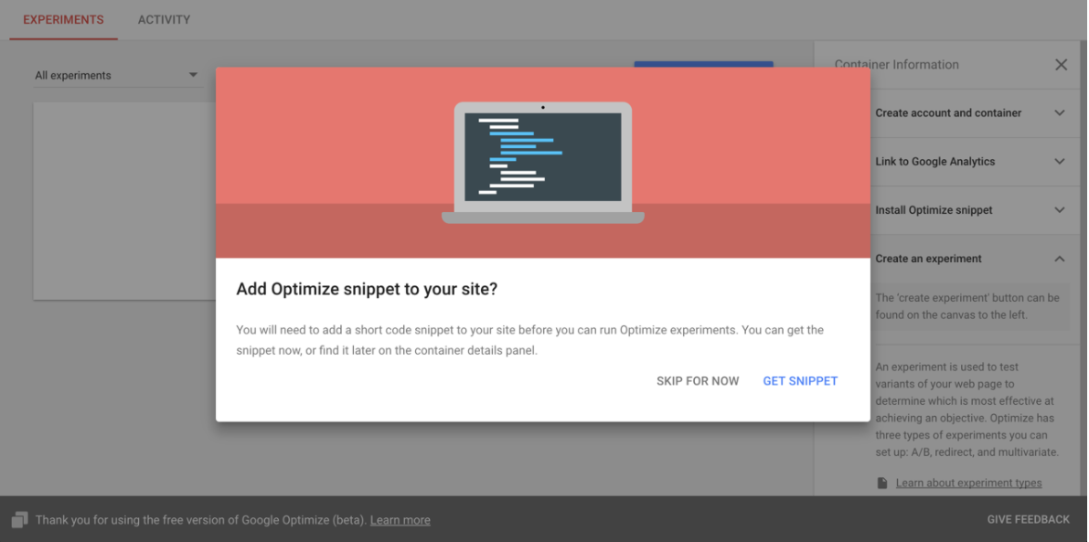 Google Optimize snippet prompt