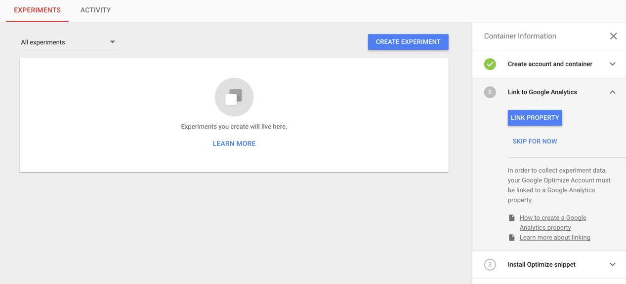 Google optimize setup
