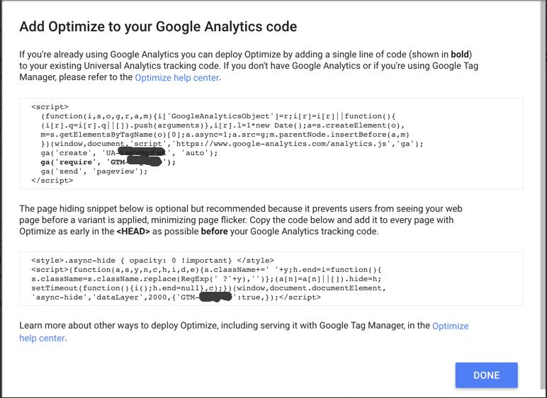 Google optimize snippet