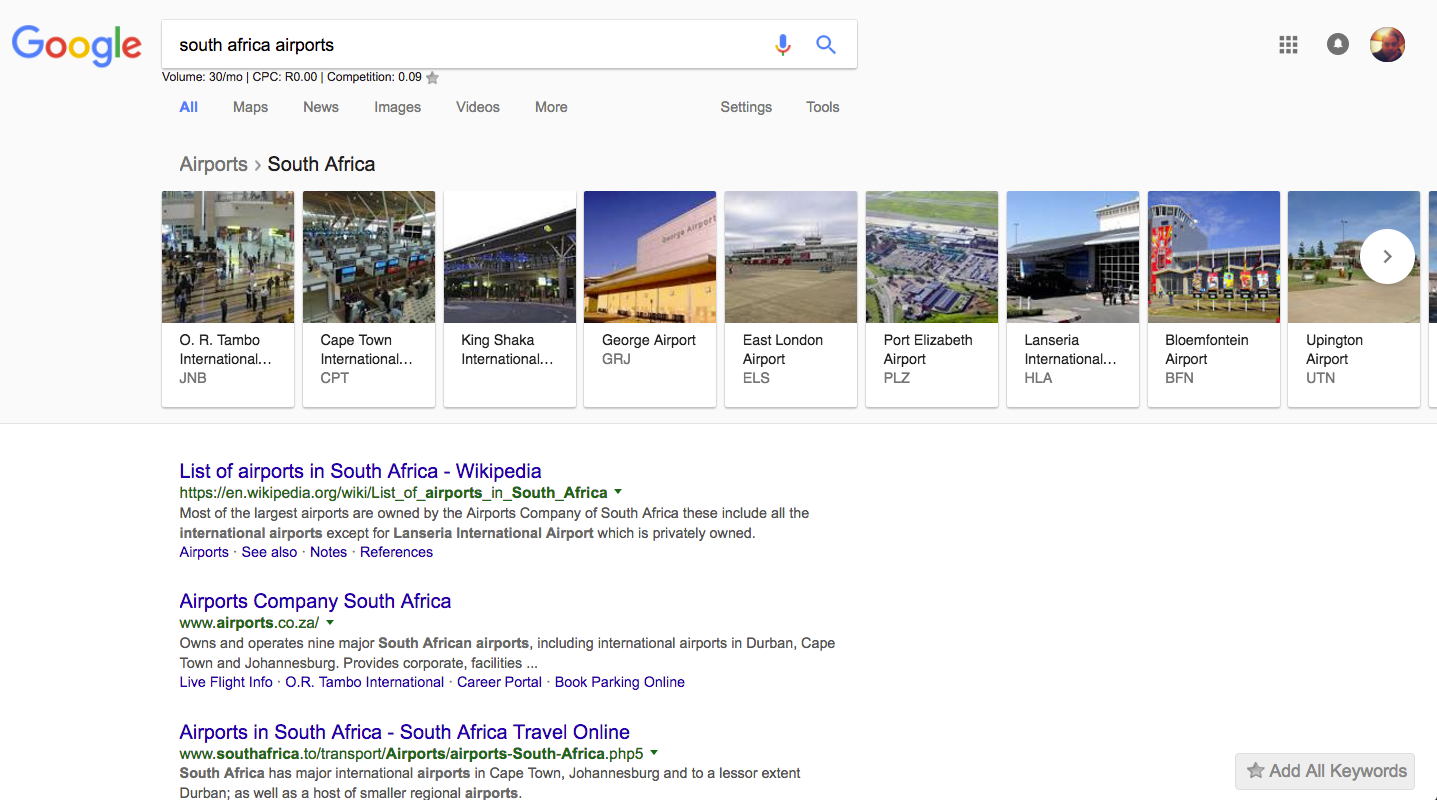 South African Airports serach desktop