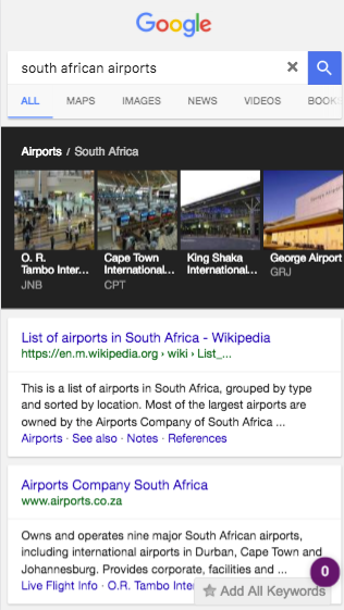 South african airports mobile search