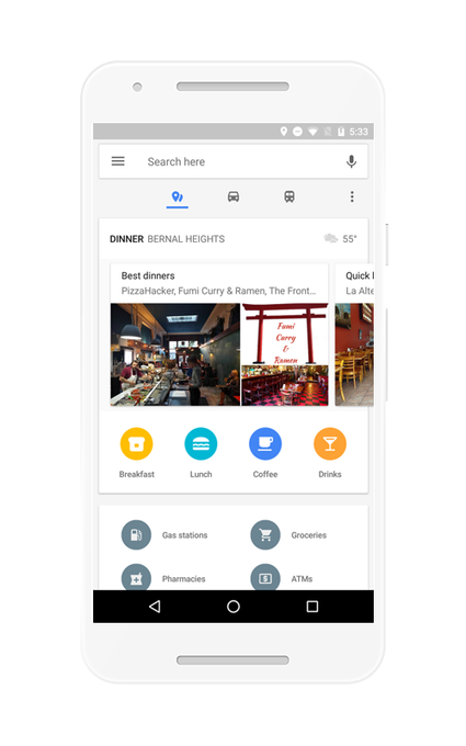 Google Maps Places Screen