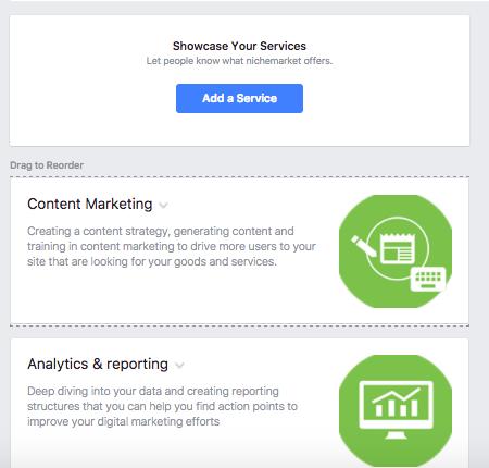 Facebook Service List Adding