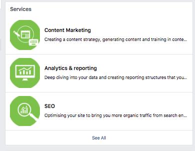Facebook services list