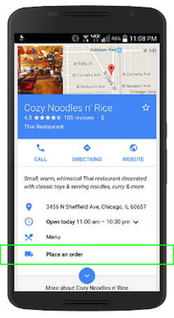 Google my business order button