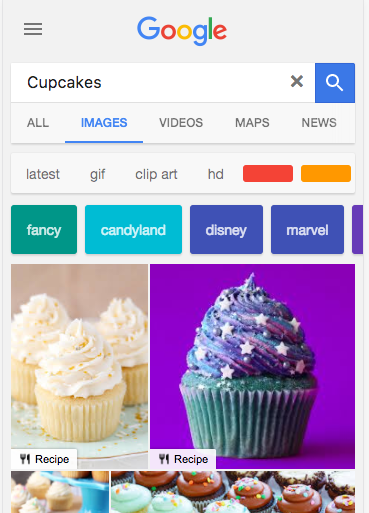 Cupcake google image search on mobile