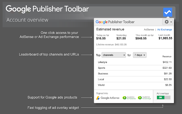 Google Publisher Account view