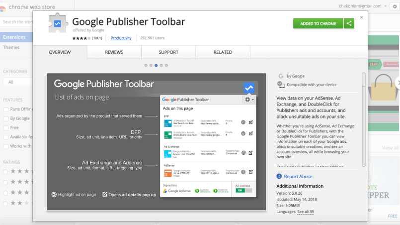 Google Publisher Tool Bar Chrome Lisitng