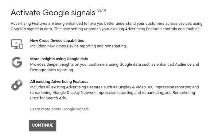 Google Signals set up