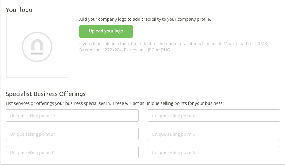 Adding a logo and USPs to your business listing