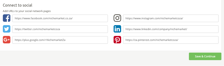 Adding your social media profiles to your listing